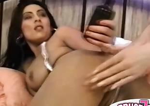 Sexy lesbos lovinТ hardcore anal with dildo